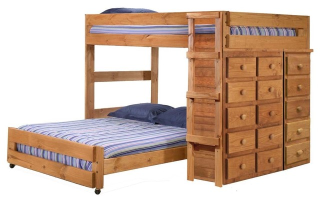 Chelsea Home Full Over Full Loft Bed With 5 And 10 Drawer Chests Traditional Bunk Beds By