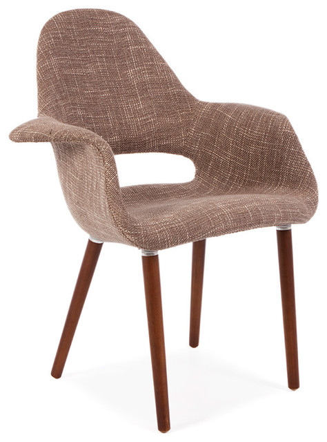 Mid Century Retro Organic Lounge Dining Chair Taupe
