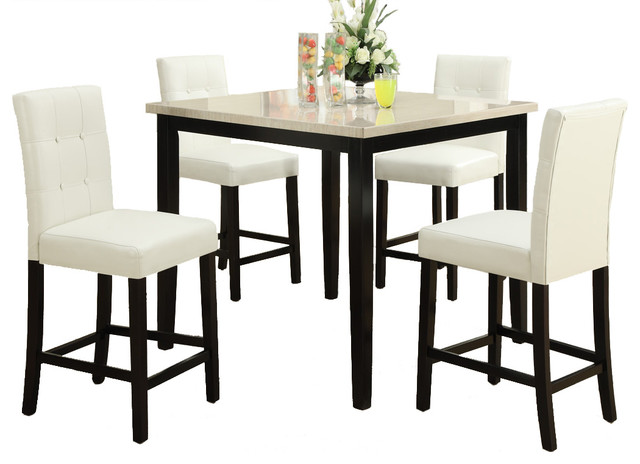 Kitchen Set Cream Stone Slate Table Leatherette Chair  Contemporary