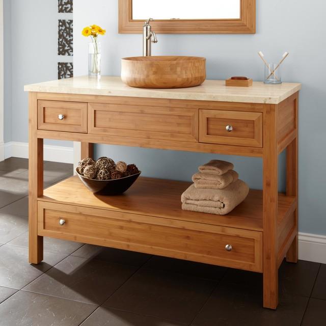 48 miles bamboo vessel sink console vanity modern for Modern bamboo bathroom vanity