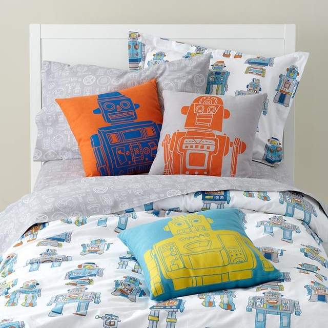 robo bedding eclectic kids bedding by the land of nod. Black Bedroom Furniture Sets. Home Design Ideas