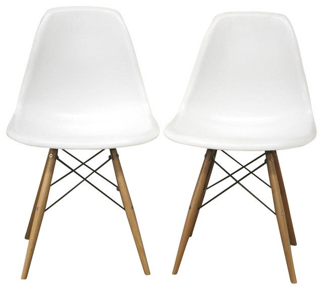 Baxton studio lac plastic side chair in white set of 2 for White plastic kitchen chairs