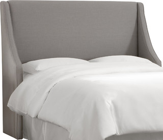 Swoop Arm Wingback Headboard Linen Gray Transitional