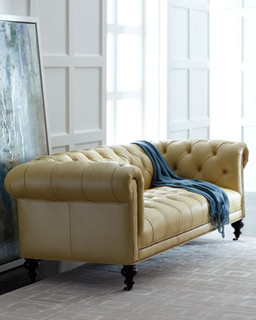 Old hickory tannery fenway tufted leather sofa for Traditional tufted leather sofa