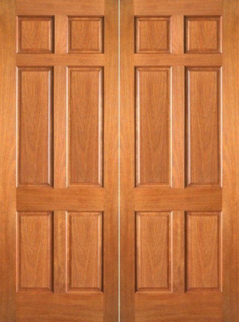 P 660 interior wood mahogany 6 panel double door for All wood interior doors