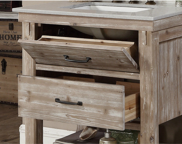 30 inch Rustic Bathroom Vanity with Matching Wall Mirror ...