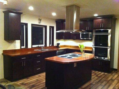 Dark brown kitchen cabinets tribecca door style for Dark brown kitchen units
