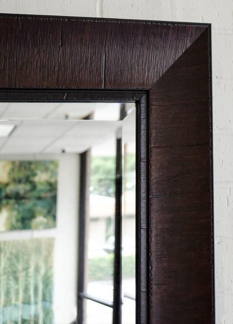 Large floor mirror with dark espresso frame contemporary for Mirror framed floor mirror