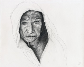 Old Woman Pencil Drawing Portrait 1 Contemporary Fine