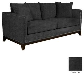 La Brea Studded Sofa Charcoal Contemporary Sofas By