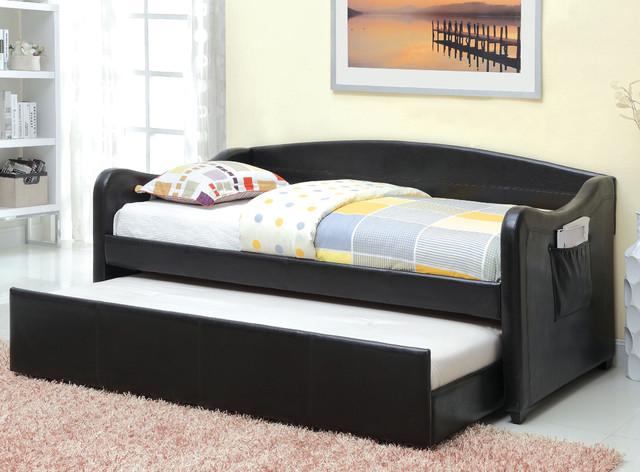 Furniture of america vispia modern faux leather daybed for Furniture of america daybed