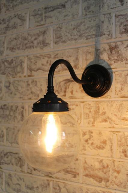 Glass Ball Wall Lights : Glass Ball Gooseneck Wall Light - Industrial - Wall Lighting - melbourne - by Fat Shack Vintage
