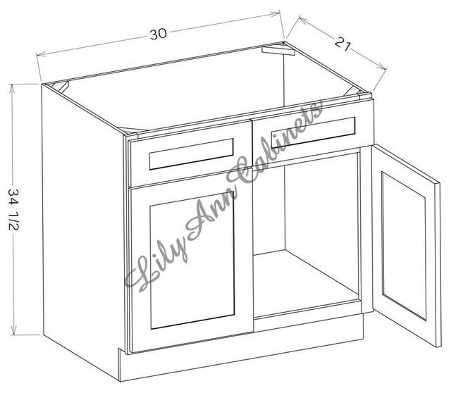 RTA Hickory Walnut Bathroom Vanities V3021 - Double Door Base Cabinet - Modern - Kitchen ...