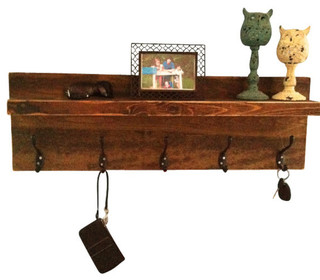 Rustic Entryway Shelf and Coat Rack, Dark Walnut