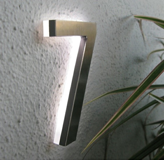Led house number 5 outdoor by luxello led modern house numbers