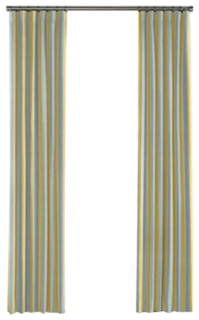 Teal And Yellow Stripe Curtain Single Panel Ring Top Contemporary Curtains By Loom Decor