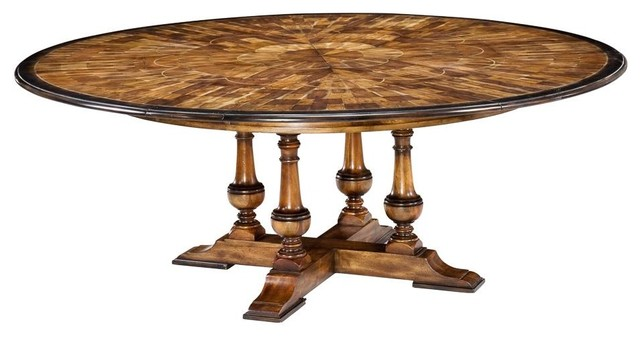 Large Round Walnut Dining Room Table With Leaves Seats 6 10 People Tropical Dining Tables