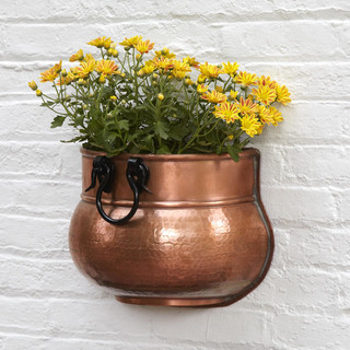 Hammered Copper with Iron Handle Wall Planter - Antique Copper ...
