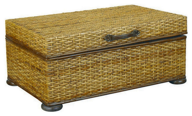 Hammary T73256 00 Hidden Treasures Trunk Cocktail Table In Rattan Weaving Coffee Tables By