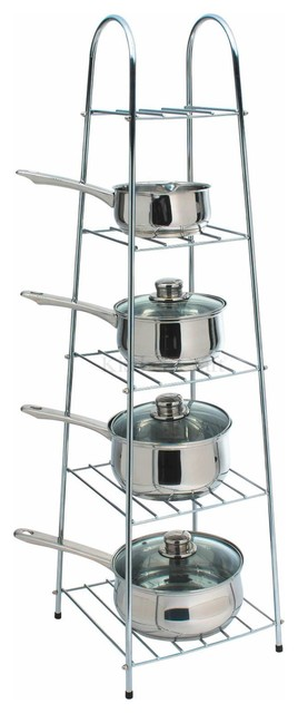 Kitchen Craft Deluxe Heavy Duty Chrome Saucepan Stand ...