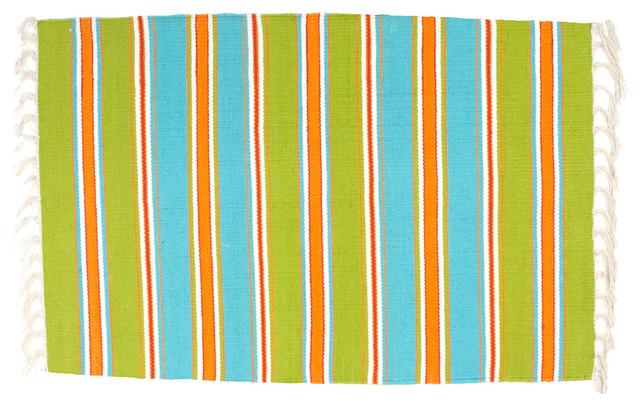 100 Cotton Flat Weave Blue Orange Amp Green Striped 2 X3