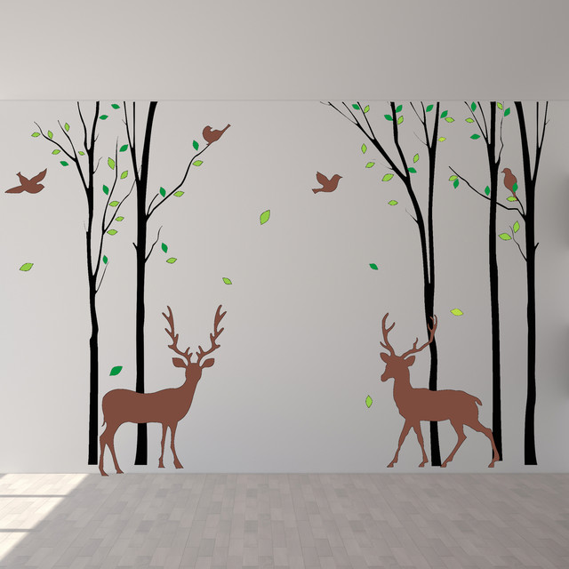 Forest wall decals deer silhouette wall mural in the for Deer wall mural