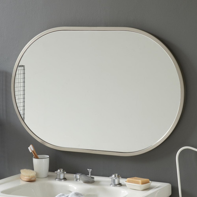 Metal oval wall mirror brushed nickel modern wall Bathroom wall mirrors brushed nickel