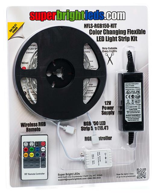 NFLS-RGB150-KIT Color Changing Flexible LED Light Strip Kit - Contemporary - Undercabinet ...