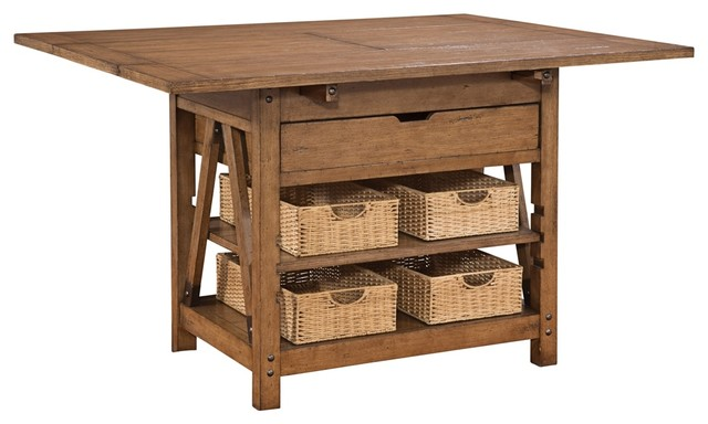 Homestead Oak Wood 1 Drawer Kitchen Island Rustic Dining Tables By Lamps Plus