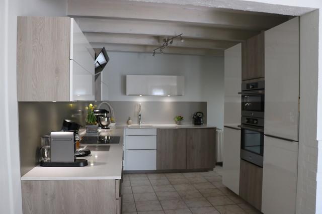 Cuisine bois gris et blanc brillant plan quartz belmont - Cuisine blanc et bois ...