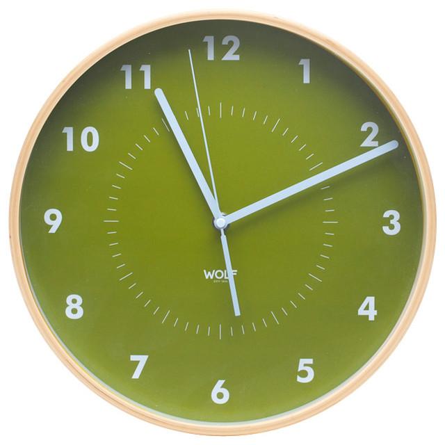 Wall clock green modern wall clocks by wolf for Green wall clocks uk