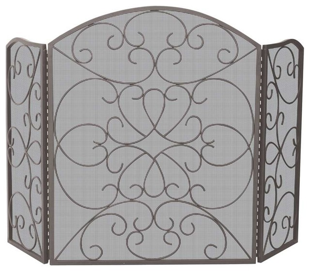 Uniflame 3 Fold Bronze Screen With Ornate Design Traditional Fireplace Screens By Shopfreely