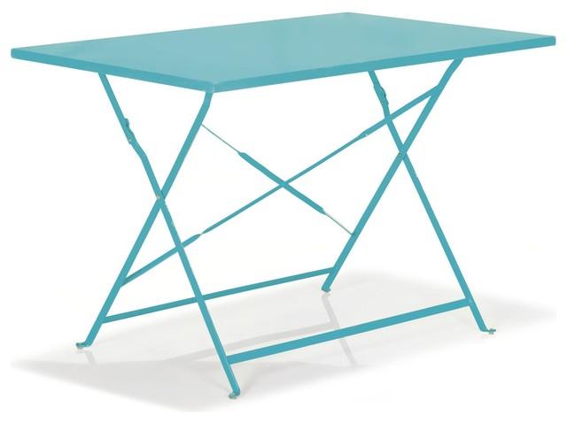 Pims Table De Jardin Rectangulaire Et Pliante Bleu Contemporary Outdoor Dining Tables