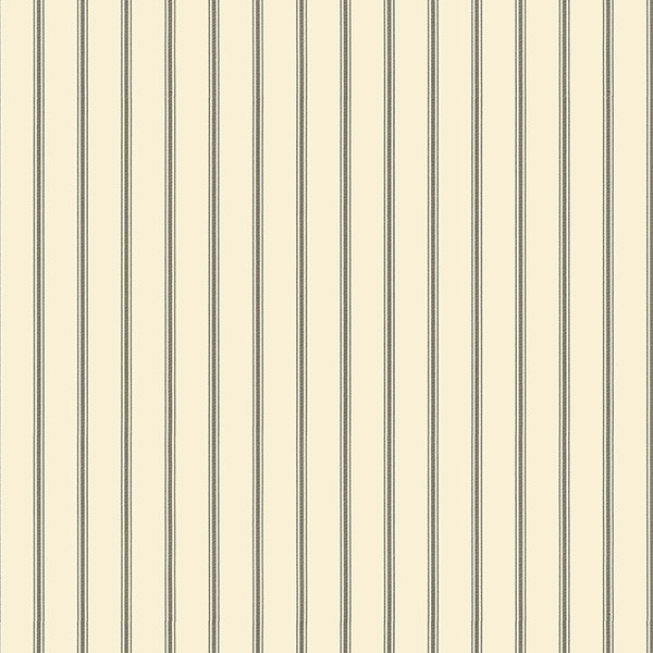 Ticking stripe wallpaper black cream sample for Black and cream wallpaper