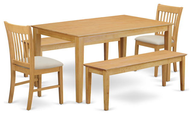 Tucker Rectangular Dining Table Set With Benches 5 Pieces Dining