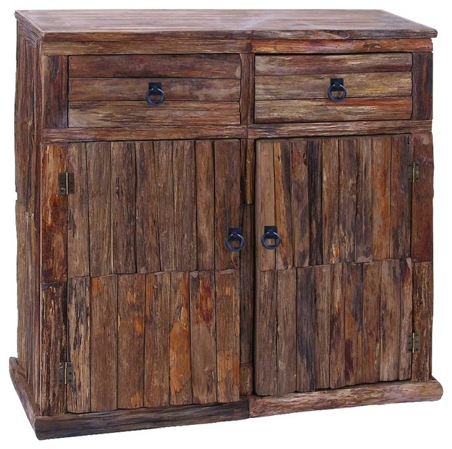 Reclaimed Wooden Cabinet With Metallic Ring Handles - Rustic - Accent Chests And Cabinets - by ...