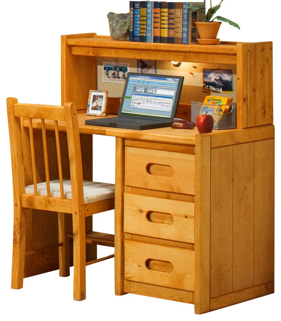 chelsea home 3 drawer student desk with hutch and chair in cinnamon traditional baby and. Black Bedroom Furniture Sets. Home Design Ideas