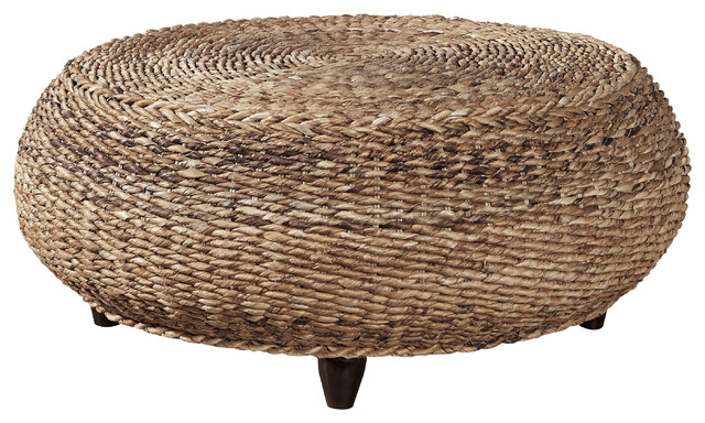 Cape Woven Seagrass Cocktail Ottoman Outdoor Footstools And Ottomans By Furniture Classics