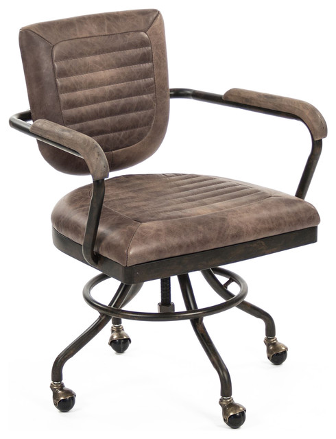 leather adjustable rolling task desk chair industrial office chairs