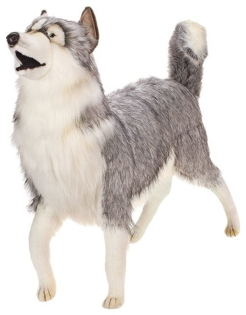 Life Size Gray Husky Stuffed Animal Modern Kids Toys