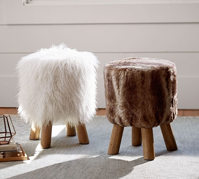 Faux Fur Stool Contemporary Vanity Stools And Benches
