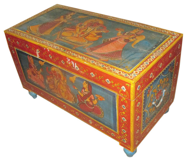 Consigned antique ganesha hand painted storage trunk for Asian trunk coffee table