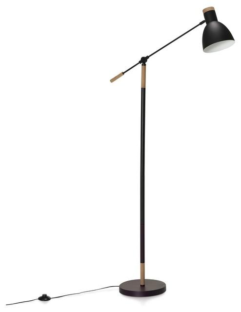wanda lampadaire acier bois h156cm contemporain. Black Bedroom Furniture Sets. Home Design Ideas