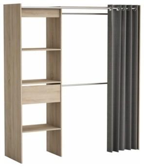 Armoire dressing extensible moka ch ne bross rideau gris contemporain a - Rideau armoire et dressing ...
