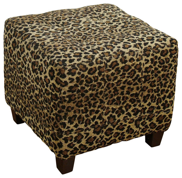 Leopard Ottoman Transitional Footstools And Ottomans
