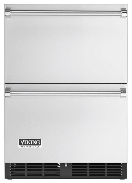 "Viking 24"" Undercounter Double Drawer Refrigerator Stainless Steel 