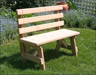 6 39 Red Cedar Backed Bench Contemporary Garden Benches By