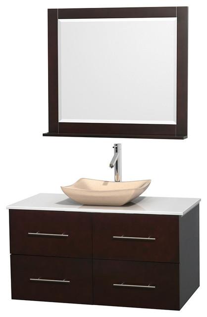 42 Single Bathroom Vanity In Espresso Stone Countertop Sink And Mirror Contemporary