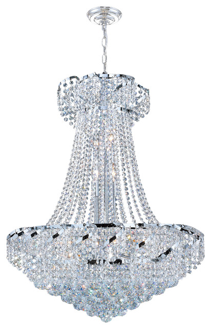 French Empire Light Clear Crystal Mini Chandelier Chrome Finish