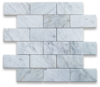 Carrara Marble Subway Brick Mosaic Tile, White - Modern - Wall And Floor Tile - by Stone Center ...